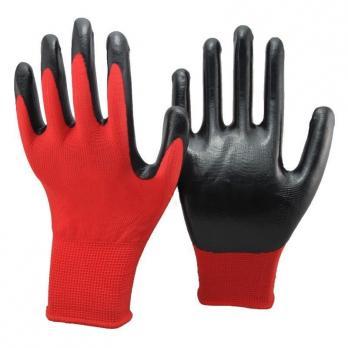 Перчатки нейлон с нитрил напылением, чёрный с красным (1\12\960)N402