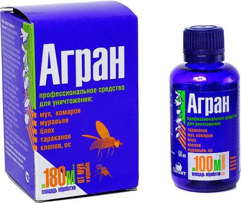 АГРАН КЭ 55% 50мл в коробочке, От мух, комаров, тараканов, муравьев, блох, ос (1\30)  АР50К