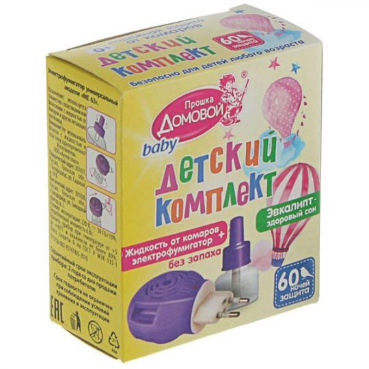 Комплек детский жидкость 60ночей + фумигатор (24) ДОМОВОЙ